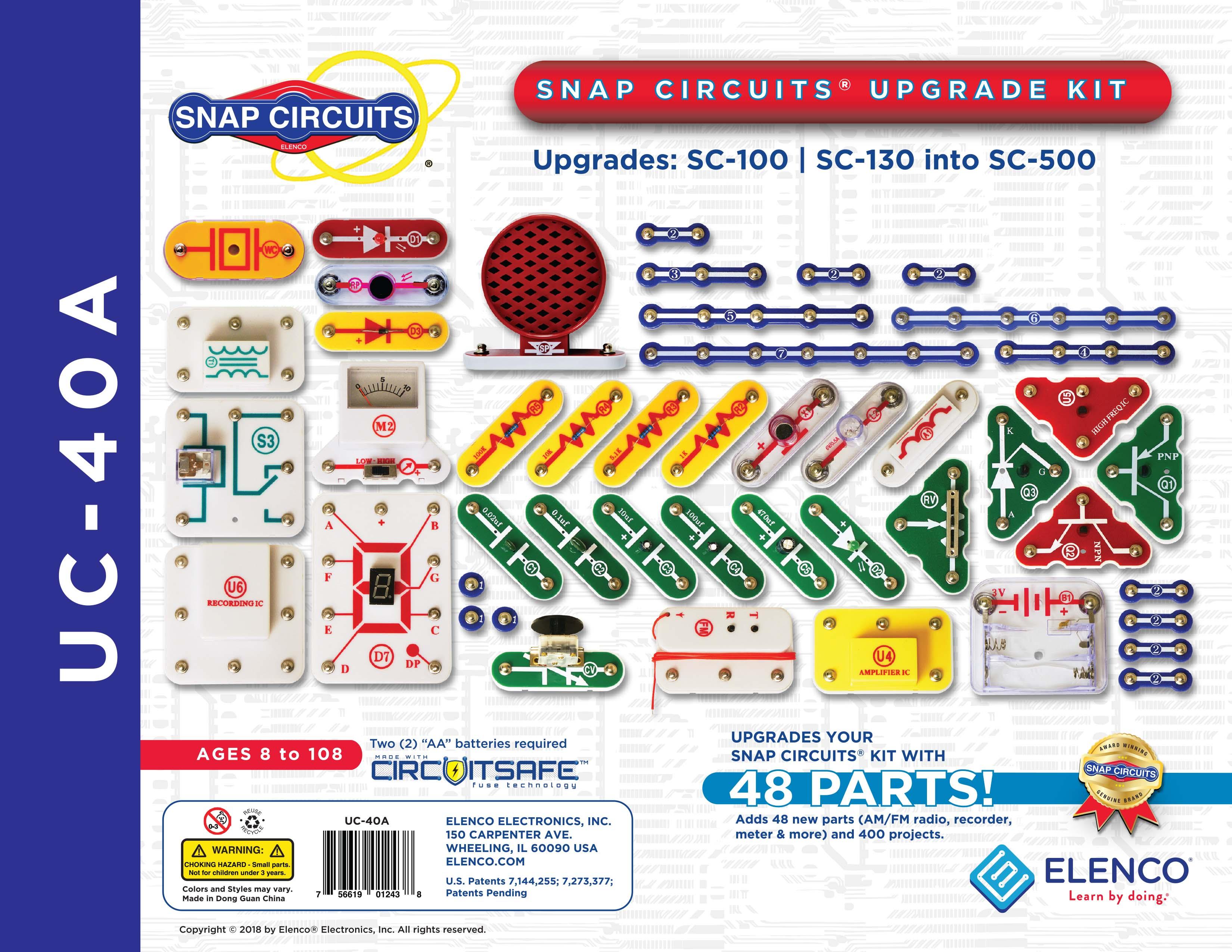 uc 40a snap circuits upgrade kit elenco electronicssnap circuits® upgrade kit sc100 sc130 into sc500